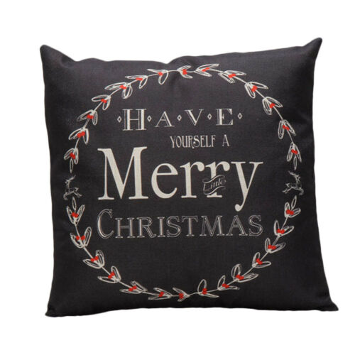 Pillow Case Merry Christmas Letter Print Sofa Bed Cushion Cover Home Decoration