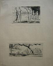 Felix Meseck (1883-1955) 2 Miniaturen Orig Radierung sign 1920 Neue Sachlichkeit