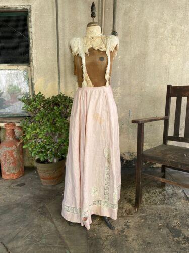 Antique Edwardian Pink Linen Skirt Crochet Lace Em