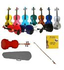 NEW 4/4 3/4 1/2 1/4 1/8 1/10 1/16 STUDENT VIOLIN,CASE,BOW & EXTRA SET OF STRINGS