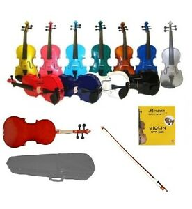 NEW 4/4 3/4 1/2 1/4 1/8 1/10 1/16 STUDENT VIOLIN,CASE,COLOR BOW & EXTRA STRINGS