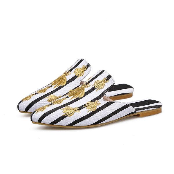 zapatillas elegantes zuecos negro oro rayas suela cómodo como piel 9848