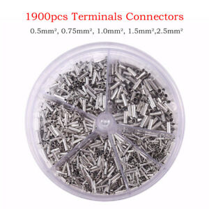 1900x Aderendhülsen Kabelschuhe Sortiment Set Kabel 0.5mm²-2.5mm² in Streudose