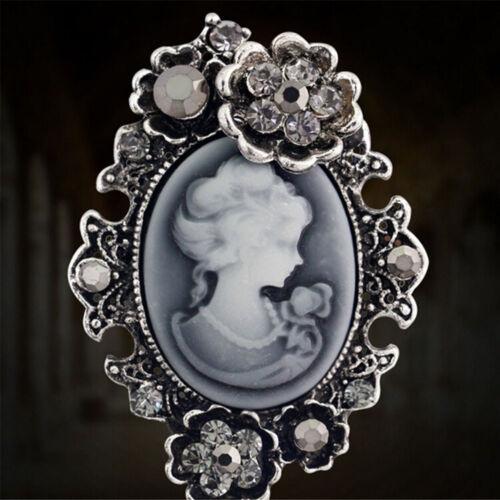 Fashion Gold Vintage Brooch Pins Silver Antique Brooch Cameo Rhinestone