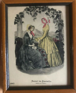 "19thC French fashion print hand-colored ""Journal des demoiselles"" FRAME numbered"