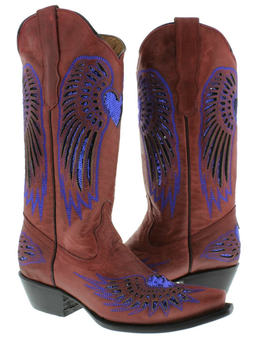 Womens Red bluee Heart Sequins Leather Cowgirl Boots Pointed Toe