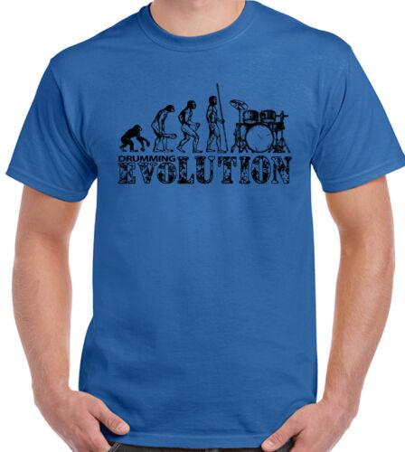 Mens Funny T-Shirt Drummer Drum Drumming Snare Kit Sticks Drumming Evolution