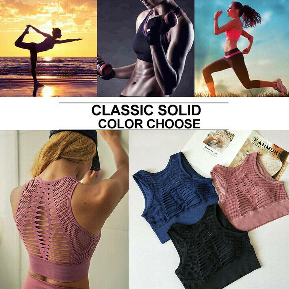 Womens Yoga Sports Bra Fitness Stretch Workout Seamless Racerback Padded Tops AM