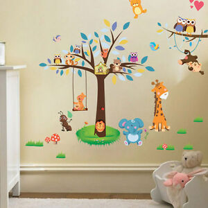 Selva-Animal-tema-Pared-Adhesivo-Mono-Jirafa-Buhos-Arbol-Nino-Guarderia-Arte-Calcomania