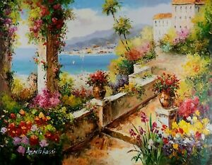 Signed-Mediterranean-View-Stretched-Oil-Painting-On-Canvas-30x40-inches