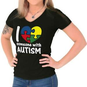 I Love Someone With Autism Support Awareness Womens Juniors Petite V-Neck Tee