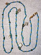 VINTAGE MULTI COLOR SEED BEADS & GOLD TONE CHARMS LONG NECKLACE ~SIGNED: NAPIER