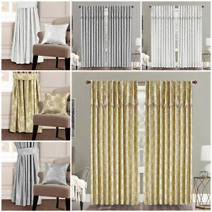 Heavy-Jacquard-Ready-Made-Fully-Lined-Pencil-Pleat-Pelmet-Pair-Curtains-Panel