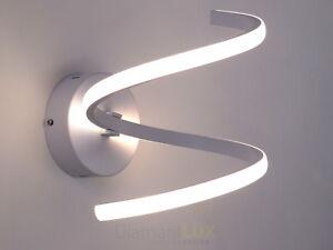Applique lampada da parete design moderno spirale led bianco salone