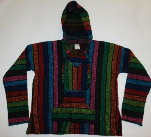 L Surfer Skater Drug Rug Jacket Unisex size Mexican Poncho Hoodie Baja style