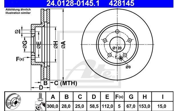 ATE Juego de 2 discos freno 300mm ventilado para MERCEDES VITO 24.0128-0145.1