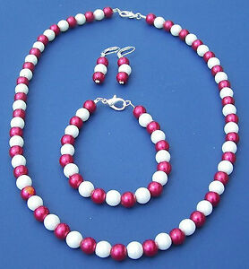 1-Red-White-Beads-Earrings-Chain-Or-Bracelet-For-Fans-From-Munich