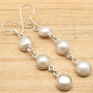 PEARL-Long-DANGLE-Earrings-Silver-Plated-Over-Solid-Copper-ART-Fashion-Jewelry