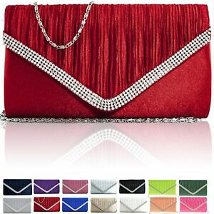 New-Ladies-Evening-Bridal-Diamante-Women-Clutch-Bag-Satin-Party-Prom-Envelope-UK
