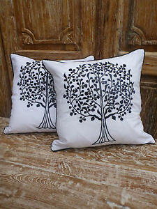 Cotton-Cushion-Covers-White-Black-Tree-of-life-Embroidery-pair-40cm