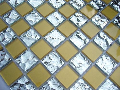 1 qm    Glas-Mosaik  Fliesen Klarglas spiegel nm06 Gold
