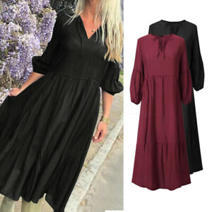 Mode-Femme-Manche-Longue-Couture-Couleur-Unie-Col-V-Cravate-Party-Club-Robe-Jupe