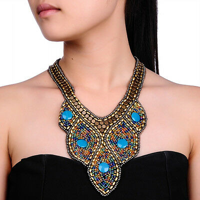 Beauty Ethnic Tailor Colorful Resin Bead Choker Chunky Bib Statement Necklace