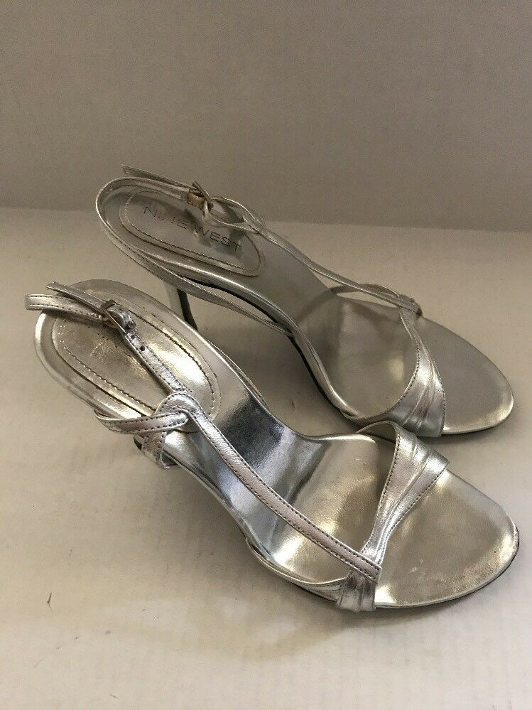 Nine West Silver Leather Strappy Open Sandal, Toe High Heel Shoes Sandal, Open 5.5  3.5