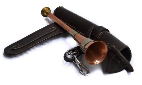 RAME /& Ottone Fox Caccia A FASCE Horn /& Bridle Custodia in pelle marrone