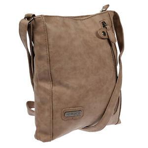 Hochwertige-Damen-Tasche-Umhaengetasche-Schultertasche-Leder-Optik-PU-Taupe-Beige