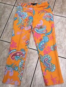 arancione Paisley Black Pantaloni 4 Label Ralph donna Lauren stampa con taglia wq0wExCAt