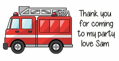 Personalised Fire Engine Party Bag Stickers Labels Favours Sweet Cones
