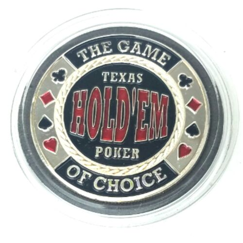 SILVER Color TEXAS HOLDEM Poker Card Guard Cover Protector Coin