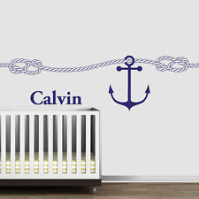 Vinyl Wall Decal Sticker Name Baby Anchor Rope Nautical Salior Nirsery r1202