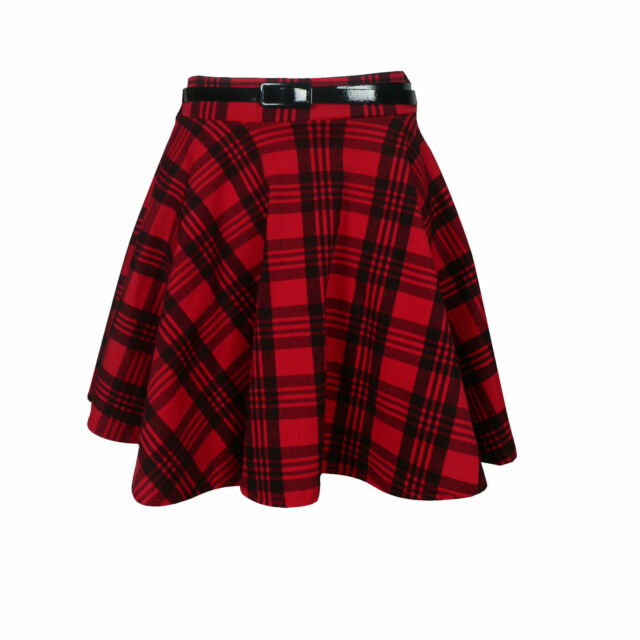 Ladies Womens Check Tartan Print Pleated Flared Belted Mini Skater Skirt
