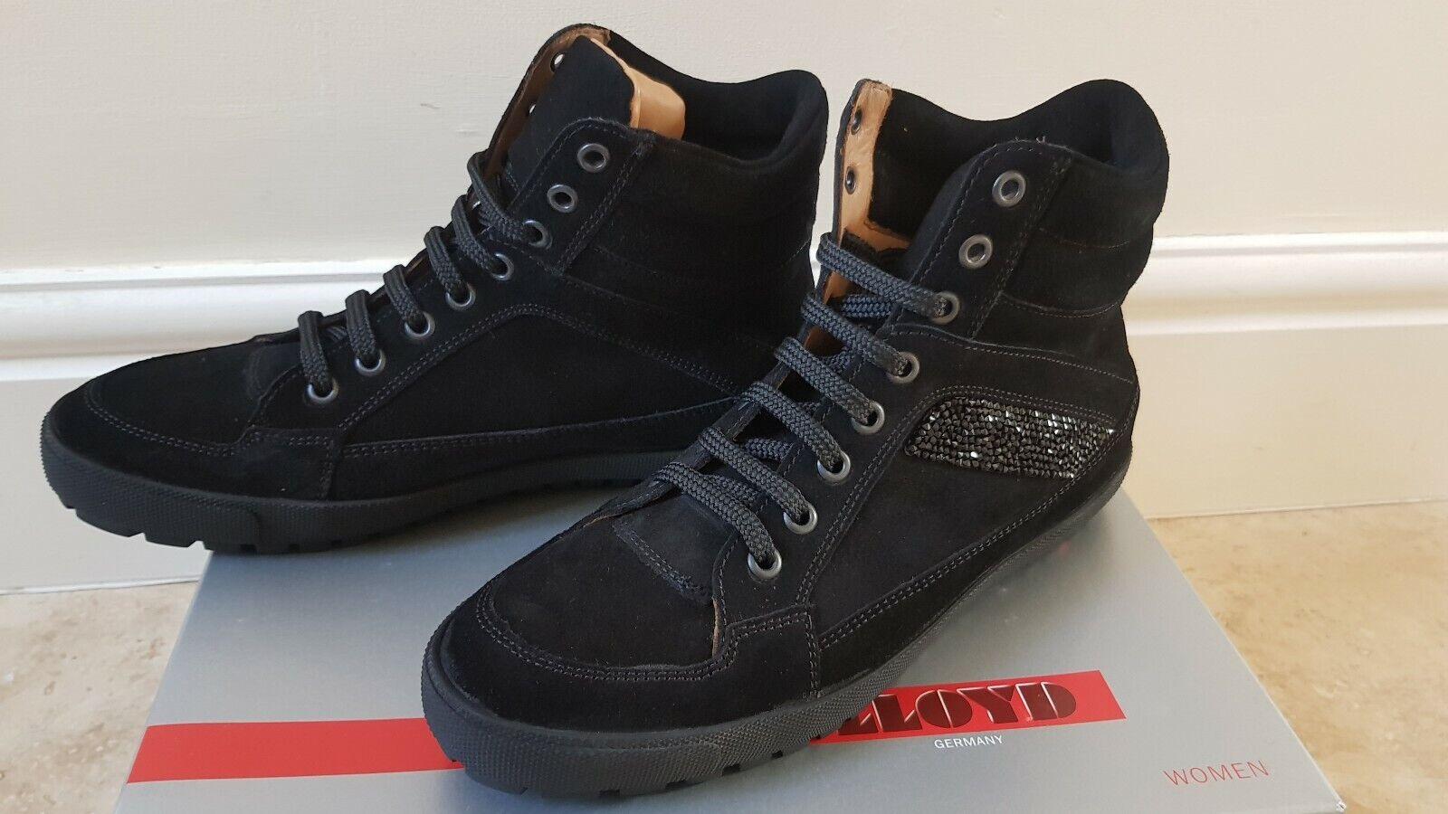 Lloyd Gamuza Cuero Negro botas al Tobillo Hi Tops UK5 parte superior  Cuero interior  Cuero