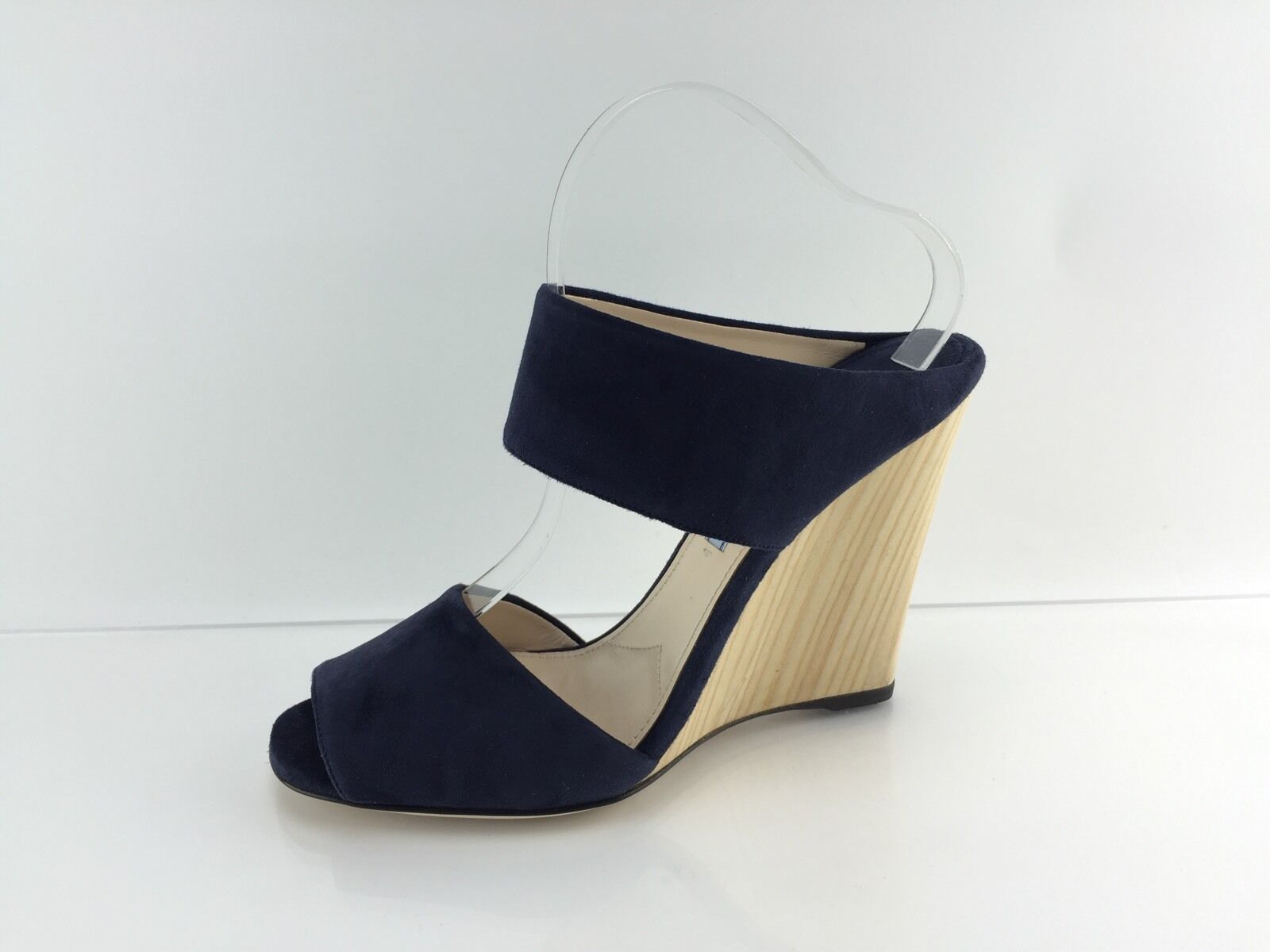 Prada Women's Navy Suede Leather Wedges 39