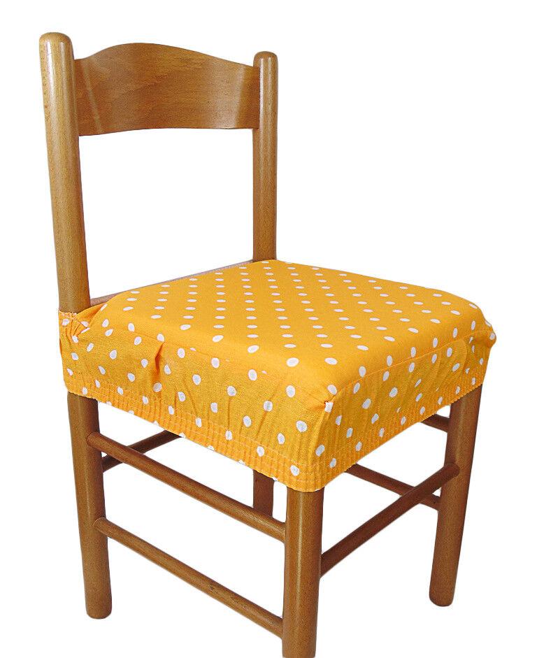 Dettagli su Due cuscini COPRISEDIA quadrati con elastico 2 pezzi pois giallo