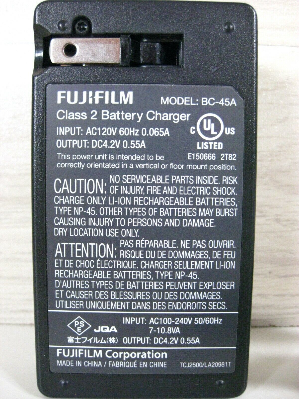 Genuine Fujifilm Model: BC-45A Lithium Ion Battery Charger
