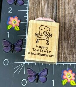 Stampin' Up! Happy Together Chair Heart Pillow Rubber Stamp 2004 Wood Mount #C57