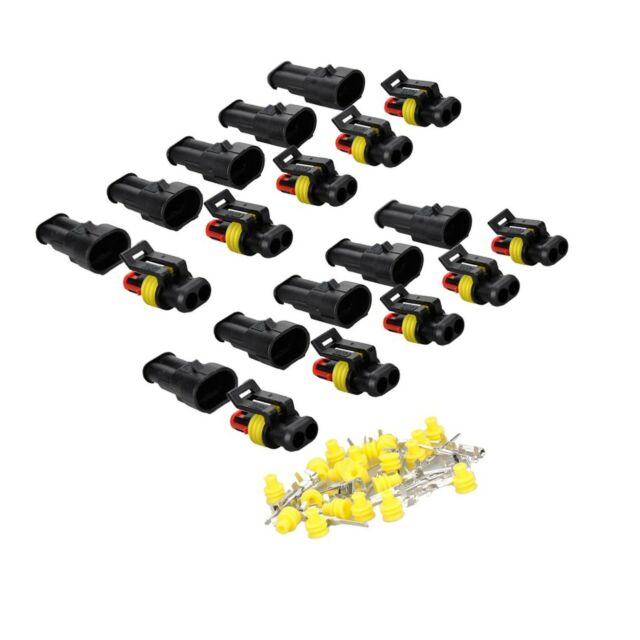 MUYI 10 Kit 2 Pin Way Waterproof Electrical Connector 1.5mm Series Terminals ...