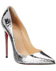 b475448359d9 100% AUTH NEW WOMEN LOUBOUTIN SO KATE 120 SILVER CRACKED MET PUMPS ...
