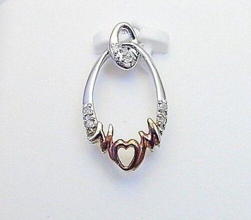 10K White gold Diamond 'MOM' Pendant .03ct Diamond Pendant Gift for Mom