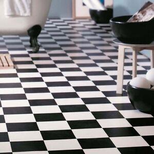 Image Is Loading Cushion Vinyl Sheet Flooring Black Amp White Chequerboard