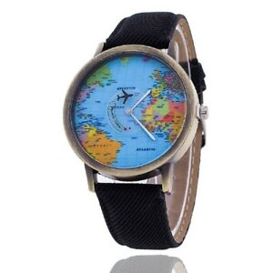 Womens mens world map atlas wristwatch watch denim look strap black image is loading womens mens world map atlas wristwatch watch denim gumiabroncs Images