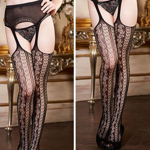 Suspender Garter Black Chain Net Geometric Stockings Tights Thigh-High Pantyhose