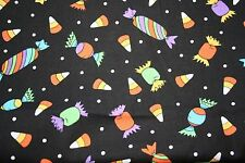 NEW  HALLOWEEN CANDY FABRIC BY THE YARD/ BLACK  BACKGROUND/COTTON/POLYESTER