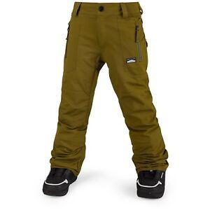 2018-NWT-BOYS-VOLCOM-DATURA-SNOWBOARD-PANTS-L-12Y-moss-green-zip-tech