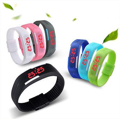 Hot Mens Womens Sports Watch Rubber LED Watch Date Bracelet Digital Wrist Watch