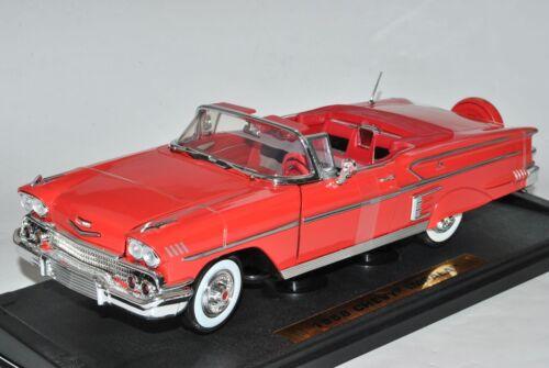 CHEVROLET CHEVY IMPALA Cabrio 1958 ROSSO 1//18 MotorMax modello auto con o senza...